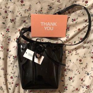 Black Patent Mini Mini Mansur Gavriel Bucket Bag